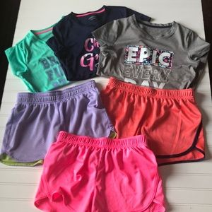 Girls Active BCG Tops & Shorts bundle of Six items